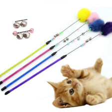 Colorful Teaser Toy Bell Plush Ball Stretchable Interactive Pet Play Wand Beamy