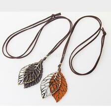 Double Leaves Hollow Pendant Necklace Velvet Rope Alloy Chain Vintage Jewelry