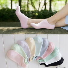 5 Pairs Girls/Womens Cotton Ankle Casual Sports Solid No Show Boat Socks Lot 5-8