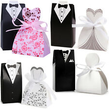 30-200 Pairs Wedding Favor Boxes Groom Bride Dress Tuxedo Shower Party Candy Bag