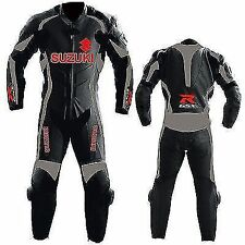 Mens Blue Suzuki  Motorcycle Leather Suit Motorbike Sports Racing Leather Suit