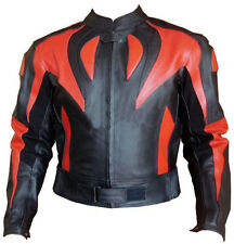 Red Flame Sports Motorcycle Leather Jacket Motorbike Racing Rider Leather Jacket