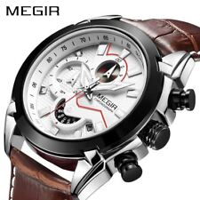 MEGIR Military Sport Watch Men Top Brand Luxury Leather Army Quartz Watches Cloc