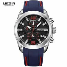 Megir Men's Chronograph Quartz Watch with Date Luminous Sport Waterproof Silicon