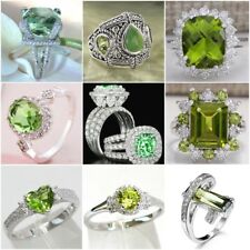 Elegant 925 Silver Peridot Ring Women Wedding Engagement Bridal Jewelry Sz 6-10