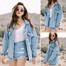 Retro Women Boyfriend Oversize Loose Jacket Casual Denim Jeans Coat Outwear Lot