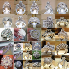 Fashion 925 Silver White Sapphire Birthstone Ring Women Wedding Jewelry Sz 5-11