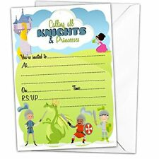 Pack Of 20 Glossy Knights And Princesses Birthday Party Invitations Cards With 2