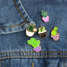 9pcs Cartoon Enamel Pin Brooch Green Plant Potted Cactus Brooches Collar Badge