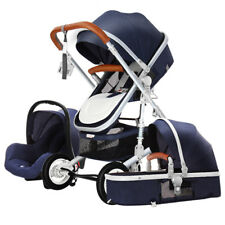 Baby Stroller 3 in 1 High Landscape Pram foldable pushchair&Car Seat Luxury cart