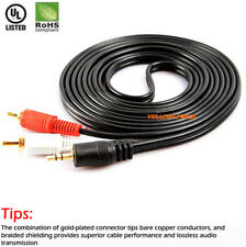 3.5 mm to 2RCA Cable, Gold & Ni Plated [Copper Shell] [Heavy Duty] 6FT~16.5FT