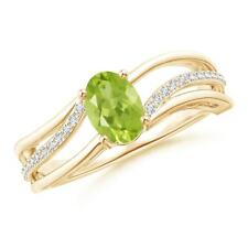 Solitaire Oval Natural Peridot Diamond Engagement Ring 14k Gold/Silver Size 3-13