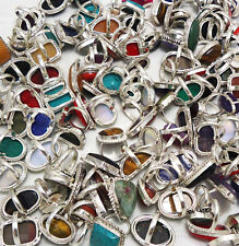 Agate & Mix Gemstone Wholesale Lot 50pcs 925 Sterling Silver Handmade Rings