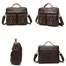 "Genuine Leather Business Briefcase Attache Shoulder Messenger Bag 14"" Laptop Bag"