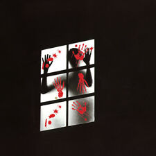 1PC Scary Horrible Red Feetprints Wall Showcase Glass Sticker for Haunted Houses