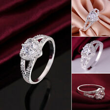 Fashion Women's Ideal Silver Plated Crystal Love Heart Ring Bridal Wedding Party