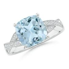 christmas gifts Solitaire Cushion Aquamarine Criss Cross Ring with Diamonds