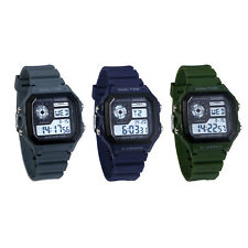 Men's Multi-function Silicone Band Square Dial LED Display Digital Wrist Watch