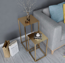 New Scandi Gold / Black Box Frame SIde End Accent Table Plant Stand Lamp Table