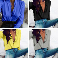 New Casual Solid Color Tops  Button Long-sleeved  Women Chiffon Blouse Shirt