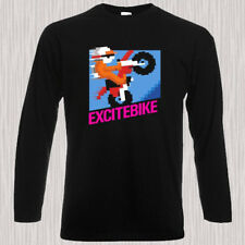 Excite Bike Video Game Classic NES Men's Long Sleeve Black T-Shirt Size S to 3XL
