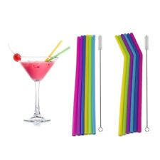 6PCS Straws Reusable Silicone Drinking Straw with Cleaning Brushes Set Hot Sale
