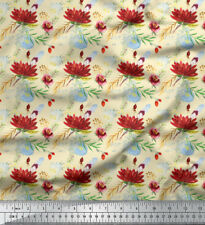Soimoi Fabric Leaves & Lotus Floral Printed Craft Fabric by the Yard - FL-867