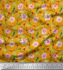 Soimoi Fabric Leaves & Anemone Floral Printed Craft Fabric by the Yard-FL-1132I