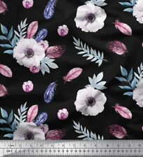Soimoi Fabric Leaves & Anemone Floral Printed Craft Fabric by the Yard - FL-321A