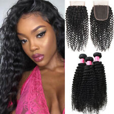 Curly Wave 300G 3Bundles With Lace Closure Brazilian Virgin Human Hair SKIN WEFT