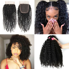 Curly Wave 300G 3Bundles With Lace Closure Brazilian Virgin Human Hair Full Head