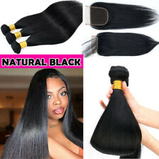 3 Bundles with 4*4 Lace Closure Brazilian Virgin Human Hair THICK FULL HEAD US