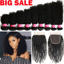 Bundles With Lace Closure Brazilian Virgin Human Hair Full Head Curly Weft US