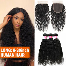 100% Virgin Brazilian Hair Curly Weave Human Hair 3Bundles and Closure FullHead