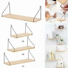 Wooden Wall Shelf Floating Shelving Home Decorative Storage Wall Mounted Rack A+