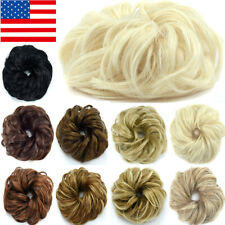 Natural Human Curly Messy Bun Hair Piece Scrunchie New Fake Hair Extensions 978Y