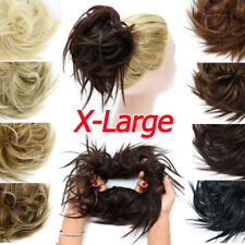 X-Large Thick Messy Bun Hair Scrunchie Updo Cover Wave Hair Extensions as Human