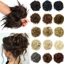 X-LARGE Messy Bun Hair Piece Scrunchie Updo Wrap Hair Extensions as Human Brown
