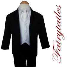Gino Black Tuxedo Tux Suit White Vest &Tie Baby to Teen