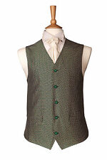MENS WEDDING IVORY GREEN DIAMOND DRESS SUIT WAISTCOAT