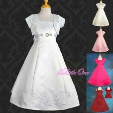 Embroidery Wedding Flower Girl Formal Dress Bolero Pageant Party Sz 2T-14 FG018J