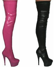 MENS WOMENS SEXY FETISH KINKY LEATHER LOOK STILETTO HEEL THIGH BOOTS SIZES 3-11