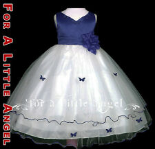 Navy Rose Butterfly Flower Girl Dress sz S M 2 4 6 8 10