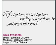 SNOW PATROL IF I JUST LIE HERE QUOTE VINYL WALL STICKER