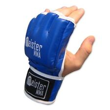 MEISTER BLUE 4OZ ULTIMATE MMA GLOVES - LEATHER OPEN PALM UFC - PRO FIGHT LEGAL