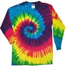 RAINBOW LONG SLEEVE TIE DYE T-SHIRTS YOUTH - ADULT 3XL