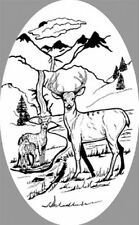 DEER SCENE static cling etched glass window decal