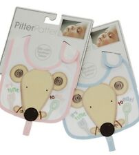 Pitter Patter Blue/Pink Mouse 'Soother Saver' Bib -BNWT