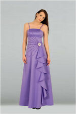 Lilac / pink satin beading bridesmaid dress prom evening dres with straps SZ8-22