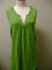 Cable & Gauge Green Sleeveless Split V-Neck Top NWT $48